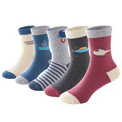 SUNBVE Little Boys' Travel Fancy Soft Cotton Casual Socks 5 Pairs Pack