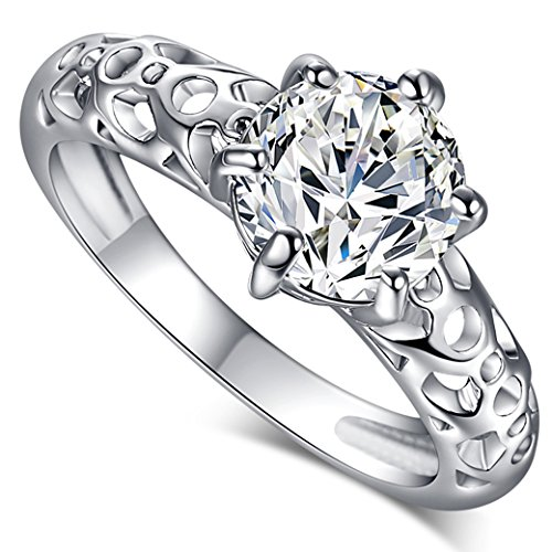 Veunora 925 Sterling Silver Created 8x8mm White Topaz Filled Solitaire Promise Ring for Women Size - Sterling 7x5 Emerald