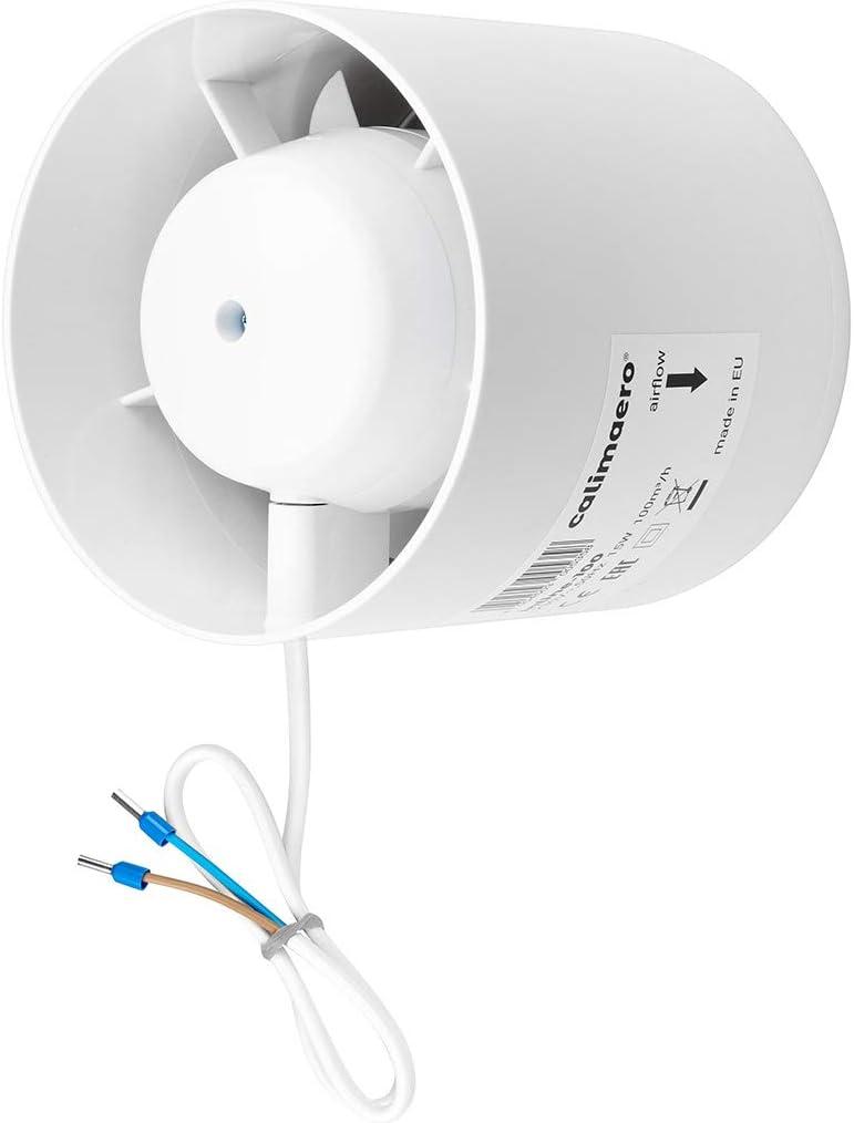 calimaero Inline 100mm - Extractor de Ventilador de Conducto Silencioso en Línea 100 m³/h, 32 dB, 15 W
