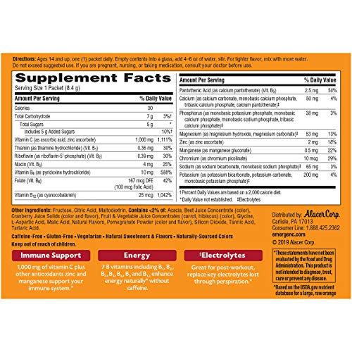 Emergen-C (60 Count, Super Orange Flavor, 2 Month Supply) Dietary Supplement Fizzy Drink Mix with 1000mg Vitamin C, 0.32 Ounce Powder Packets, Caffeine Free