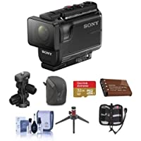 Sony HDR-AS50 Full HD Action Cam - Bunndle With 32GB MicroSDHC U3 Card, Spare Battery, Camera Case, Sony Arm Kit Mount, Cleaning Kit, Table Top Tripod, Memory Wallet,