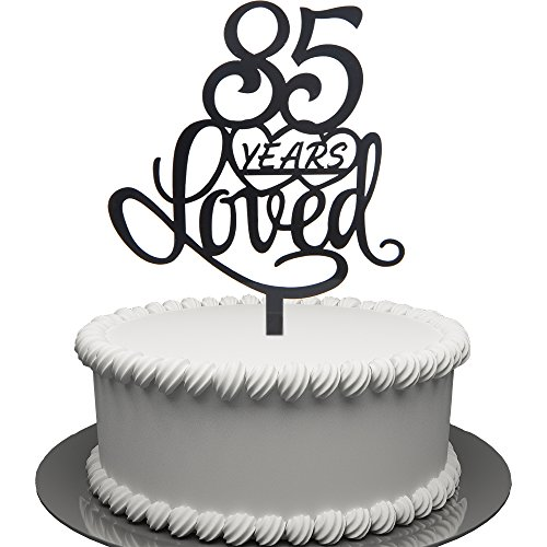 amazon 85 years loved cake topper for 85 years birthday or 85th 100th Birthday Banner amazon 85 years loved cake topper for 85 years birthday or 85th wedding anniversary black acrylic party decoration 85 kitchen dining