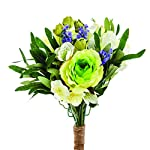 FloristryWarehouse-Artificial-Rose-Lavender-Freesia-Hellebore-Tied-Spring-Bunch-White-and-Green-with-Hanger-12-Inches