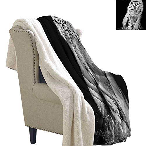Acelik Lamb Velvet Blanket Tiger Large Cat Plays in Water Machine Washable and Drier Safe W59 x L31