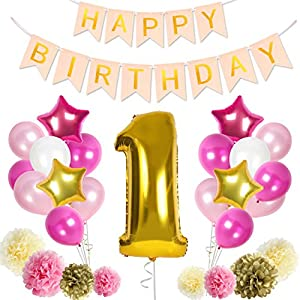 Baby's First Birthday Decorations 1st Birthday Girl Decoration Kit in Beautiful Pastel Colors Ft. Giant Number One Mylar Balloon | Pink Happy Birthday Banner | Cream, Pink and Gold (Pink w/ Banner)