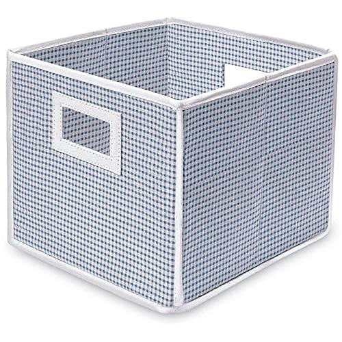 Badger Basket Blue Gingham Folding Storage Cubes (Pack of 3)