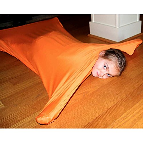 """Fun and Function Orange Space Explorer Body Suit for Autistic Children & Sensor Seekers – Large Size, 55""""x28"""", Ages 9-12"""