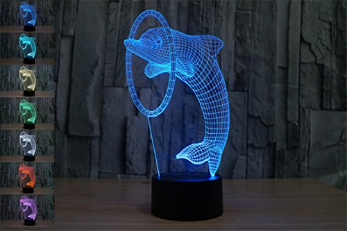 Price comparison product image YBest Dolphin 3D Optical Illusion LED Desk Lamps Colorful Touch Switch Night Light with USB Battery Powered for Christmas Holiday Birthday Gifts Room Creative Decorations