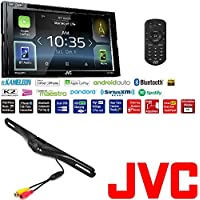 JVC KW-V830BT DVD/CD Touchscreen GPS/ Bluetooth / SiriusXM /Car Play Car Stereo CAM-600 License Plate Bolt-On Rear View Camera w/ Built-In I.R. Camera