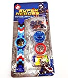 Super Heroes 360 Degree Rotary Against Kids Block Digital Wrist Watch Toys Gift (Captain America)