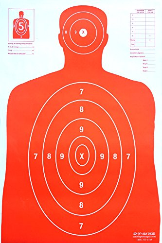 Son of A Gun Paper Shooting Targets, HIGH Shot Placement Visibility, Life Size B-27 Silhouettes, Bright Orange Package, 100 Total Count, GET More Bang for Your Buck! Best Prices Anywhere!