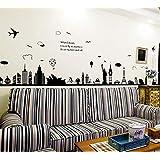 ملصقات لتزيين جدران غرف المعيشة وغرف النوم، قابلة للنزع، على شكل المدينة الاوروبية