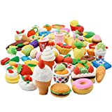 Rainbow Braid In the Kitchen Kids Realistic Looking Japanese Style Food Eraser Set, Pack of 60