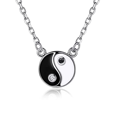 Ying Yang Pendant  With Silver Chain ! Sterling  Silver 925 New ! 24 mm