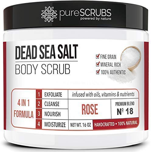 - Premium Organic Body Scrub Set - Large 16oz ROSE BODY SCRUB - Pure Dead Sea Salt Infused With Organic Essential Oils & Nutrients + FREE Wooden Spoon, Loofah & Mini Organic Exfoliating Bar Soap