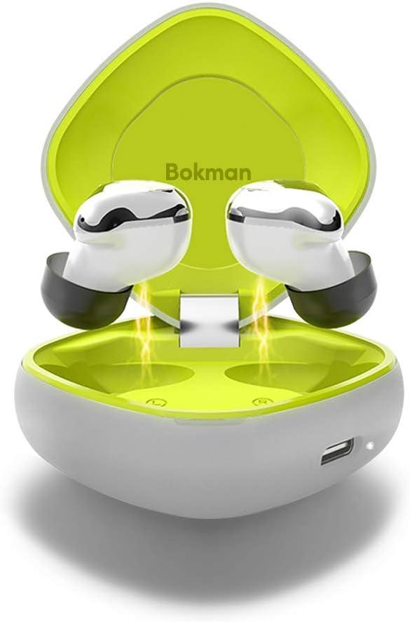 bokman Auriculares Bluetooth, O4 Auriculares Inalámbricos Bluetooth 5.0 IPX7 Impermeable HiFi Mini Twins Estéreo con Caja de Carga Inalámbrica y Mic para iPhone y Android (Gris y Verde)