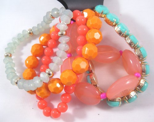 New 5 Piece Bracelet Set With Pink Coral Orange Green Beads From Cato
