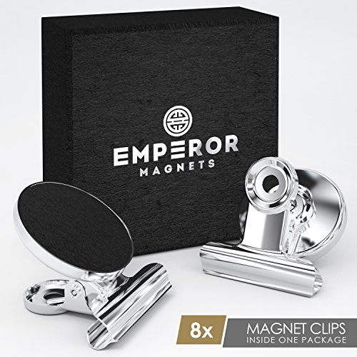 Emperor Magnets™ - Strong Refrigerator Magnets | Mini Powerful Fridge Magnets | Small Round Kitchen Magnet Hook Clips | Heavy Duty Metal Silver Finish Ideal For Office Whiteboard, Dry Erase Board