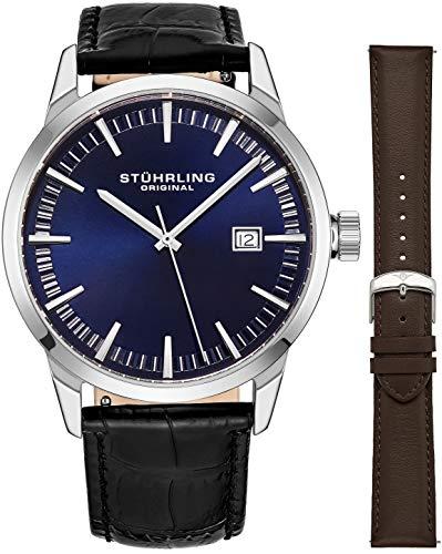 Stuhrling Original Mens Minimalist Swiss Quartz Stainless Steel Dress Wrist-Watch, Quick-Set Date, 2 Easy-Interchangeable Leather Straps – 555AZ Series