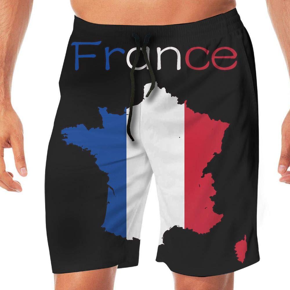 STDKNSK9 Mens French Flag Boardshorts Swimming Shorts No Mesh Lining