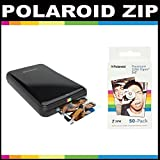 Polaroid ZIP Mobile Printer ZINK Zero Ink Printing Technology - With Polaroid 2x3 inch Premium ZINK Photo Paper (50 Sheets)- Black