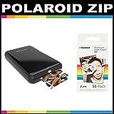 Polaroid ZIP Mobile Printer ZINK Zero Ink Printing Technology - With Polaroid 2x3 inch Premium ZINK Photo Paper (50 Sheets)- Black