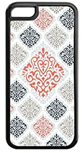 01-Large and Small Damasks-Pattern- Case for the APPLE IPHONE 4s ONLY-Hard Black Plastic Outer Case with Tough Black Rubber Lining