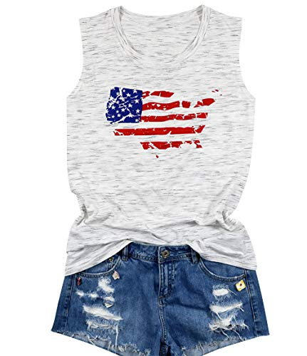 USA Flag Tank Top Women Vintage Distressed American Flag Girls Summer Camis T-Shirts Sleeveless Casual Vest Size M (White)