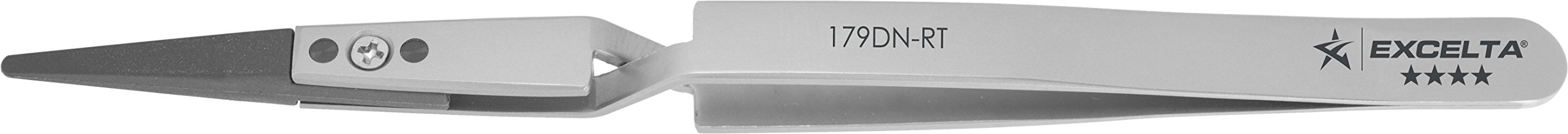 Excelta - 179DN-RT - Tweezers - Replaceable Tip - Straight - Four Star - Copolymer Tips - Cross Action, 0.06'' Height, 0.38'' Wide, 1.5'' Length