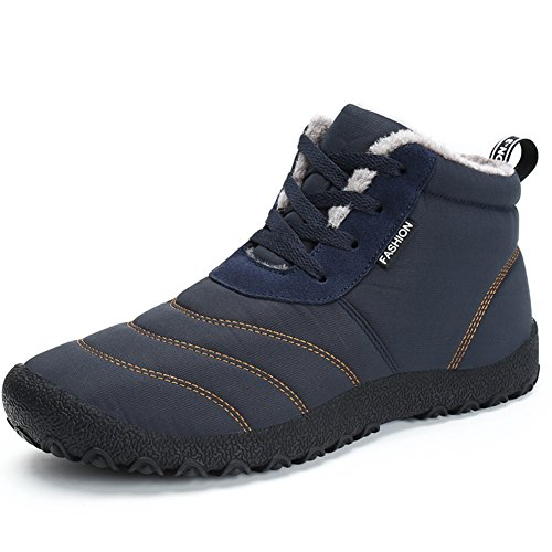Moodeng Snow Boots For Women and Men Waterproof Non-Slip Warm Lace Up Cotton Shoes Outdoor Blue f1XFPxN
