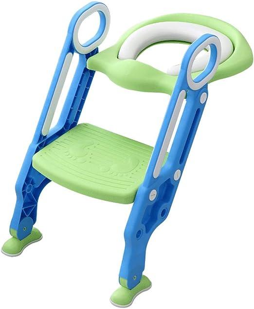 QIQIDEDIAN 2-7 años de Edad, Inodoro bebé, niño, niño, Inodoro, niño, Inodoro, Escalera Escalera Plegable Plegable (Color : Verde, Tamaño : 23.5cm*16.5cm*31cm): Amazon.es: Hogar