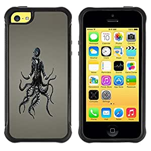 LASTONE PHONE CASE / Suave Silicona Caso Carcasa de Caucho Funda para Apple Iphone 5C / Goth Punk Octopus Gasmask