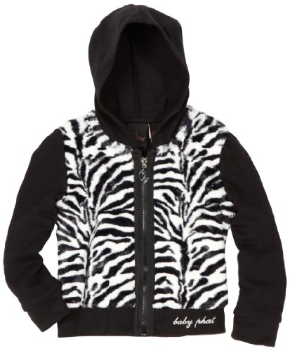 Baby Phat Little Girls' Zebra Faux Fur Hoodie Sweater