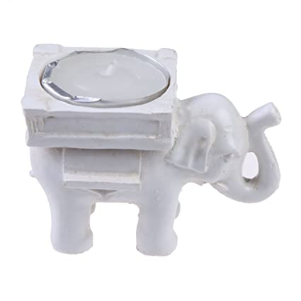 1ff6c8f1e51 Image Unavailable. Image not available for. Color  chinatera Good Luck Lucky  White Elephant Candle Holder Antique Ivory-Finish ...
