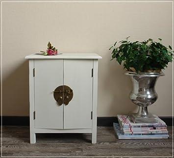 Petite commode-table de chevet style asiatique h48cm blanc au look ... f5097adb202d