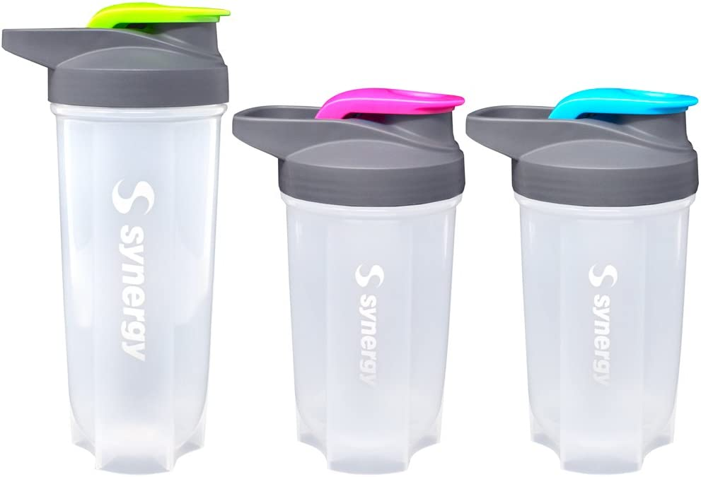 Synergy Protein Nutrition Shaker Bottle 3-Pack (18/18/24oz, Blue/Green/Pink)