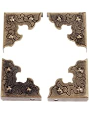 """10-Pack Decorative Corner Protector for Jewelry Gift Box, 25x25x9mm/1""""x1""""x0.35"""", Metal Carved Corner Guards for Wooden Wine Box Case Cabinet Jewelry Chest Furniture - Antique Bronze"""