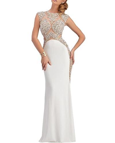 Olivia's Crystal Illusion Top Silver Mermaid Split Evening Dresses 2016 Prom