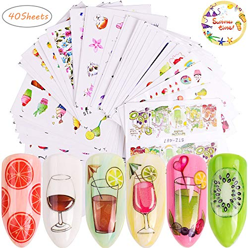 Summer Series Nail Decals for Women 40 Sheets Water Slide Nail Tattoo Stickers Fruits Cakes Drinks Ice Cream Tips Cartoon Nail Art Stickers for Manicure Wraps Decorations of Fingernails and Toenails