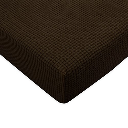 (Subrtex Spandex Elastic Couch Stretch Durable Slipcover Furniture Protector Slip Cover for Settee Sofa Seat (Chair Cushion, Chocolate))
