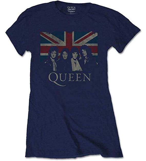Queen \u0027Vintage Union Jack\u0027 (Navy) Womens Fitted T,Shirt
