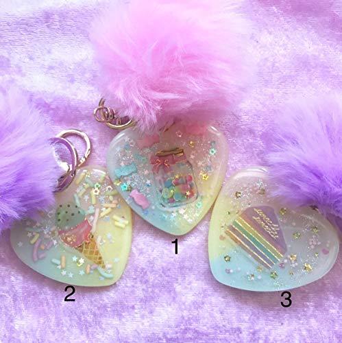#1- Pastel Kawaii Heart Key charm With Pink Pom Pom Glitter Candy Jar/Bag Charm/Keychain/ Key Charm Accessories -