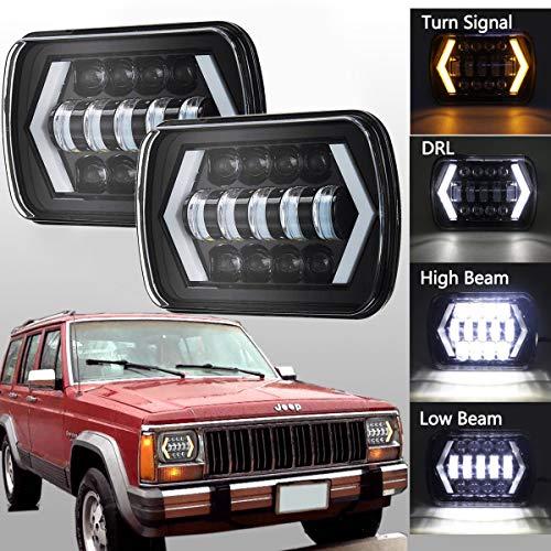 H6054 Led Headlights,7x6 Led Headlights,5X7 Led Headlight with Arrow Angel Eyes DRL Turn Signal Light Fog Lights Replaces H6054 H5054 H6054LL 69822 Fit Trucks Jeep Wrangler XJ YJ Sedans GMC