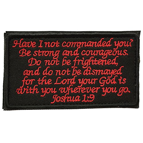 SpaceAuto Joshua 1:9 Tactical Morale Desert Badge Embroidery Hook & Loop Emblem Patch 3.93″ x 2.16″ – Black & Red