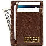 Swanky Badger Men's Slim Front Pocket Wallet, Leather Minimalist Thin Smart Cardholder Design, Brown, Classic
