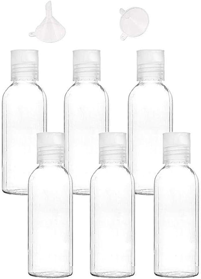 Ealicere 6Piezas Botellas de plástico de 100 ml con Dos embudos,Botella plástica cosmética Transparente,Apto para cosméticos champú Accesorios de Viaje etc.