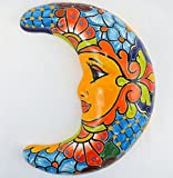 Talavera Luna Half Moon 12'' Wall Hanging Hand Painted Ceramic Garden Decor (Multi-Cobalt)