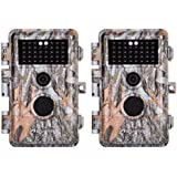 BlazeVideo 2-Pack 16MP HD 1080P Game & Trail Cameras Hunting Wildlife Deer Scouting Cams F2.0 Lens Motion Activated Waterproof IP66, 38 No Glow IR LEDs with 65ft Night Vision, Video Record, 2.4 LCD