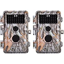 """BlazeVideo 2-Pack 16MP HD 1080P Game & Trail Cameras Hunting Wildlife Deer Scouting Cams F2.0 Lens Motion Activated Waterproof IP66, 38 No Glow IR LEDs with 65ft Night Vision, Video Record, 2.4"""" LCD"""
