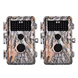 [2019 Upgraded]2-Pack Game Trail & Deer Hunting Cameras 16MP 1080P No Glow Wildlife Cams with Night Vision Motion Activated Waterproof & Password Protected Photo & Video Model Time Lapse & Time Stamp